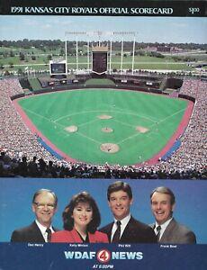 1991 KANSAS CITY ROYALS vs DETROIT TIGERS  SCORECARD PROGRAM  EX-MINT