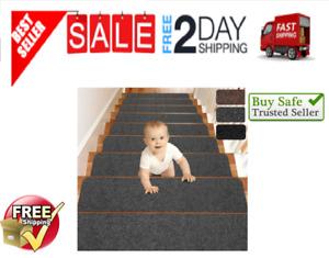 14 Pack Non-Slip Stair Treads, Outdoor Non Skid Step Tape, PET Black Anti-Slip