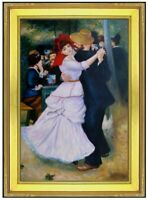 Framed, Pierre Renoir Dance at Bougival Repro, Hand Painted Oil Painting 24x36in
