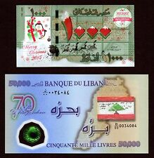 50000 LL 2013 Polymer & 1000 LL COLORIZED Christmas & Happy New Year 2016 Liban