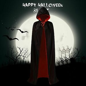 Unisex Halloween Witch Cloak Reversible Double Layer Cosplays Hooded Cape