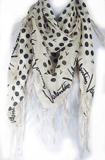 Dot with letter  print fringe 100% silk scarf, Valentino pattern, Beige color