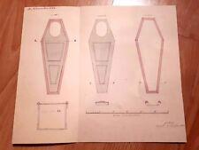 * Antique Coffin Blueprint Circa 1864 * Rare & Authentic *