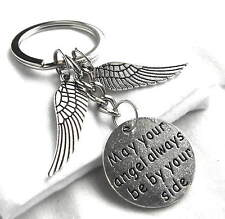 May your angel always be by your side Chrome Metal Keychain Wings Gift Boxed