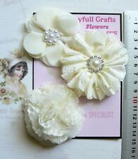CREAM Fabric Eyelet Chiffon Organza Lace 3 Flower Pk 65-80mm Njoyfull Crafts D2