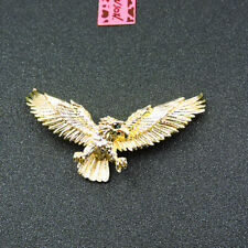 Betsey Johnson Rhinestone Gold Lovely Eagle Bird Charm Woman Brooch Pin