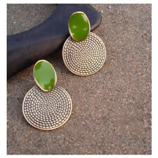 Women Girl Retro Green Round Earrings Carved Oil Major Big Drop Green Ear Studs