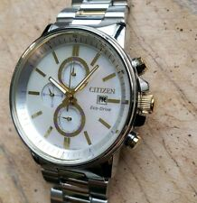 Citizen Eco-Drive Watch With 42mm Chronograph Pearl Face & Silver Breclet