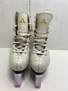 American Athletic Shoe Ice Figure Skates Women Size 2 White Leather Lace Up