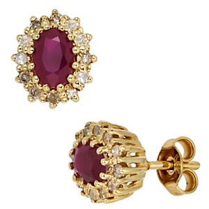 Studs 585 Yellow Gold 24 Diamonds 0,24ct.2 Ruby Red Earrings