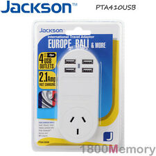 Jackson International Travel Adapter w/ 4 USB Port Outbound Europe Bali & More