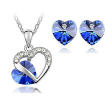 Blue Heart Crystal Pendant Necklace Chain and Earrings Wedding Jewellery Set