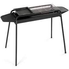 Barbecue Charcoal Grill Height Adjustable Stove Bbq Cooker Smoker Outdoor Black