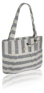Grey Tote Bag - Oyster Catcher Bird design Stripe Linen - Fair Trade BNWT