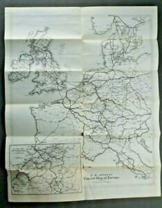 E.M Jenkins Tourist Agency, Specimen Tour, Railroad routes, map Europe, antique
