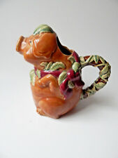 Pottery Majolica Style Pig Pitcher