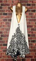 LAUREN VIDAL Soft Knit Sleeveles Dress Extreme V-Neck Flared At Front Size L