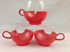 Pyrex Ware Corning Hot Cold Glass Plastic Cups Mug Orange Green Drink Up VTG