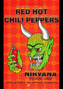 RED HOT CHILLI PEPPERS NIRVANA 1991 VINTAGE CONCERT POSTER REPRO ART PRINT