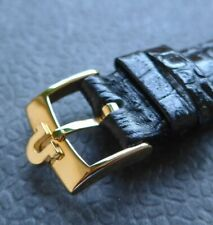 Omega vergoldete Edelstahl Dornschließe (NOS) mit 18mm Quali-Lederband-schwarz-