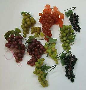 10 Bunches About 1 lb Vintage Life Size Grapes Plastic Decorative Fruit FREE S/H