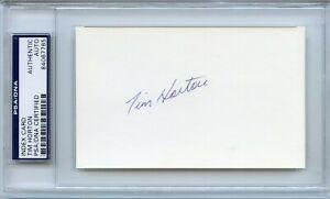 TIM HORTON Signed Index Card 1969 Leafs Rangers HOF  PSA/DNA  Encapsulated