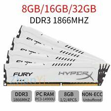 For HyperX FURY 32GB 16GB 8GB DDR3 1866MHz PC3-14900 CL10 DIMM RAM White LOT 777