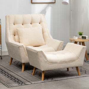 Super Large Chesterfield Deep Button Sofa Armchair Chaise Lounge Chair+Footstool