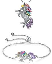 UNICORN Rainbow Pendant Necklace &/or Bracelet with Rhinestones Chain Party Gift