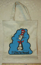 "The CAT IN THE HAT 1957 Vintage Canvas BOOK BAG TOTE ""I Like To Read"" 12""Tall"