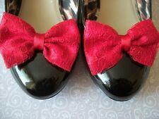 NUOVO paio di Rosso in Raso Rosso Floreale Pizzo shoe Clips GLAMOUR Fiocchi 40s 50s Retrò Vintage