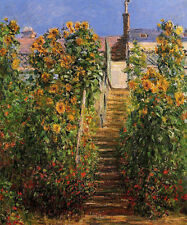 Huge Oil painting Claude Monet - The Steps at Vetheuil summer landscape canvas
