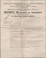 """AMIENS (80) BANQUE / RECOUVREMENTS """"GUIOT Succ. de HOUBART"""" en 1910"""