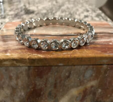 Graziano Silver Tone Rhinestone Bling Bangle Fashion Bracelet