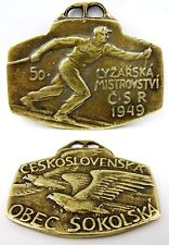 1949 Ski Championships Czechoslovak Sokol Games Vintage Old Medal Sign