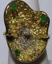 Stunning 14k Green Gold Ring Sea Shell Nugget 1 Diamond & 3 Emeralds Estate