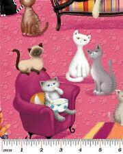 Fat Quarter Kitty Galore Cat Lounge Pink Quilting Fabric - Benartex