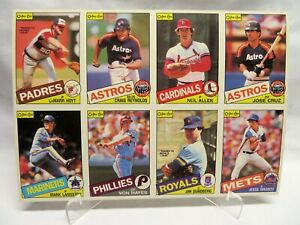 1985 O-Pee-Chee Canada, 8-Card Baseball Uncut Sheet, Langston, Hoyt, Cruz