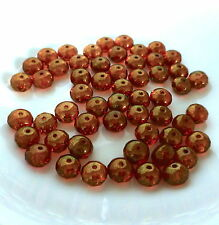 30 pcs - Czech glass beads faceted rondelles gold luster 8x6mm