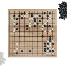 """Game of Go Set with 11.5"""" Natural Wood Board & Double-Convex Stones"""