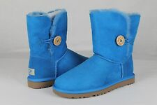 UGG AUSTRALIA SUEDE SHEEPSKIN BAILEY BUTTON BOOTS BRILLIANT BLUE SIZE 8 US