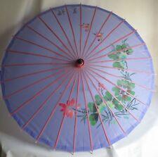 Vintage Purple Painted Fabric & Wood Umbrella Parasol ~ Romantic Birds & Flower