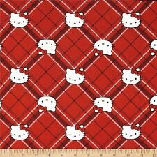 NEW Hello Kitty Diamond Plaid Red 100% cotton fabric by the yard