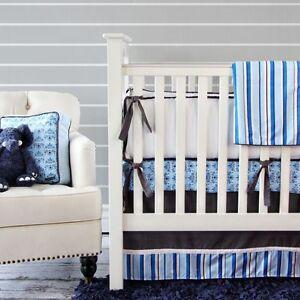 New Caden Lane Nursery Blue Luxe Damask Crib Fitted Sheet - Blue, Black, White