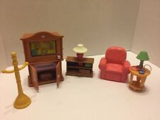 Loving Family Entertainment Center Table Lamp Recliner 6 Pc Lot Fisher Price