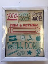 5 Wooden Classroom rubber stamps Teacher Supply Well Done Sign and Return 100%