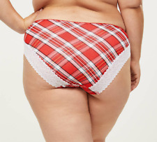 Lane Bryant Cacique Cotton Hipster Panties Underwear Plaid Lace Red White 26 28