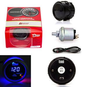 """2"""" 52mm 0-120 PSI Blue LED Digital Display Car Oil Pressure Gauge With Sensor"""