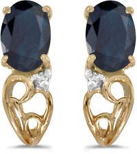 14k Yellow Gold Oval Sapphire And Diamond Earrings (CM-E2582X-09)