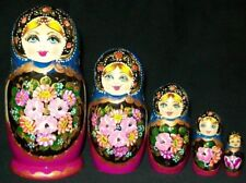 Lovely Floral Hand Painted Russian Matryoshka Nesting Doll #7636